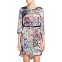 Colorful Scenery Print 3/4 Sleeve Cutout Belted Dress