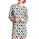 Floral Print Round Neck 3/4 Sleeve Dress