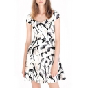 Ink Print Round Neck Short Sleeve A-Line Dress