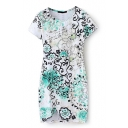 White Floral Print Short Sleeve Bodycon Dress