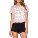 Pink Short Sleeve Letter Print Crop T-Shirt