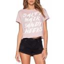 Pink Short Sleeve Letter Print Crop T-Shirt