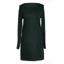 Dark Green Long Sleeve Round Neck Fitted Dress