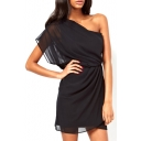 Black One Shoulder Chiffon Mini Dress
