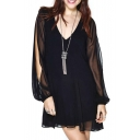 Black V-Neck Split Long Sleeve Open Back Layered Dress
