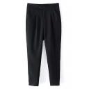 Black Double Button Harem Casual Pants