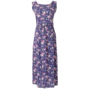 Dark Blue Background Rural Style Flora Longline Tanks Dress