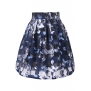 Dark Blue&Black Checker&Flower Organza Pleated Skirt
