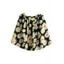 Black Background Ink Color Flora Short Skirt
