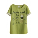 Green Short Sleeve Lace Trim Cartoon Rabbit Print Cute T-Shirt