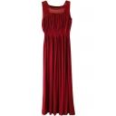 Red Mesh Panel Shoulder Longline Tanks Dress