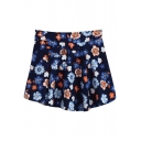 Dark Blue Background Fresh Colorful Flora Short Skater Skirt