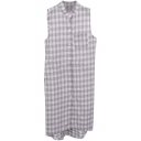 Gray Plaid Single Pocket Sleeveless Midi Shirt Dress