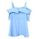 Sky Blue Off-the-Shoulder Short Sleeve Slip Shirt