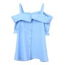 Sky Blue Off-the-Shoulder Short Sleeve Slip Shirt
