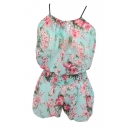 Green Background Rose Print Chiffon Camis with Shorts Co-ordinate