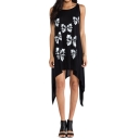 Butterfly Print Sun Dress with Asymmetric Hem