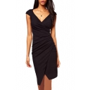 Waist Ruched Asymmetric Detail V-Neck Black Pencil Dress