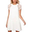 Lace Panel Short Sleeve Back Split Chiffon Tunic Dress
