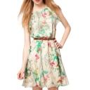 Ruffle Neck Flower Print Sleeveless Chiffon Dress with Belt