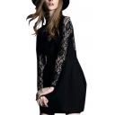Lace Insert High Neck Long Sleeve Gathered Waist Dress