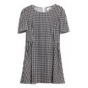 Houndstooth Print Round Neck Short Sleeve Ruffle Hem Dress