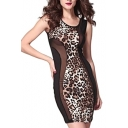 Sexy Leopard Sheer Sleeveless Round Neck Bodycon Dress