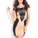Lace Crochet Scoop Cap Sleeve Bodycon Mini Dress