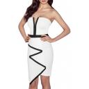 White Color Block Asymmetric Hem Off the Shoulder Dress