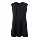 Black Sleeveless Seam Detail Concise Dress