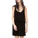Black Ruffle Hem Sleeveless Round Neck Tank Dress