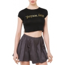 Black Short Sleeve Golden Letter Print Split Hem Crop T-Shirt