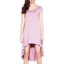 Purple Cutout Back High Low Short Sleeve Dress