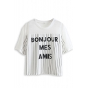White Sheer Striped Letter Print T-Shirt