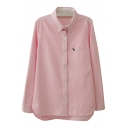 Pink Long Sleeve Tiny Deer Embroidered Shirt with Pocket