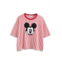Red Striped Cartoon Mouse Pattern Loose T-Shirt