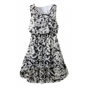 Black Vintage Flower Elastic Waist Chiffon Tanks Dress