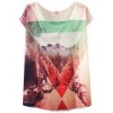 Geometry&City Scenery Print Short Sleeve T-Shirt