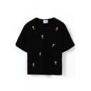 Short Sleeve Simpson Embroidered Crop T-Shirt