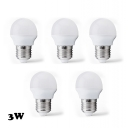 LED Globe Bulbs E27 3W Cool White Light(5 Pcs )
