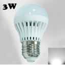 LED Globe Bulb 220V 180°SMD2835 PC Cool White  E27 3W