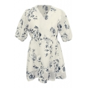 White Short Sleeve Flower Print Organza Babydoll Dress