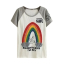 Gray Short Sleeve Rainbow&Bird&Letters Embroidered T-Shirt