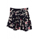Black Background Fresh White Flora Skater Skirt