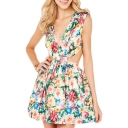 Flower Print Waist Cut Out Plunge Neck Back Zip A-line Dress