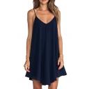 Dark Blue V-Neck Concise Style Slip Mini Dress
