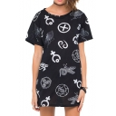 Laid Back Funk Style Symbols Print Black Mini Dress