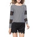 Stripe Print Net Insert Sleeve Round Neck T-Shirt