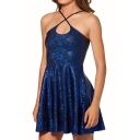 Blue Shining Gilding Slip A-line Dress