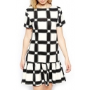 Short Sleeve Geometry&Checker Pattern Print Ruffle Hem Mono Dress